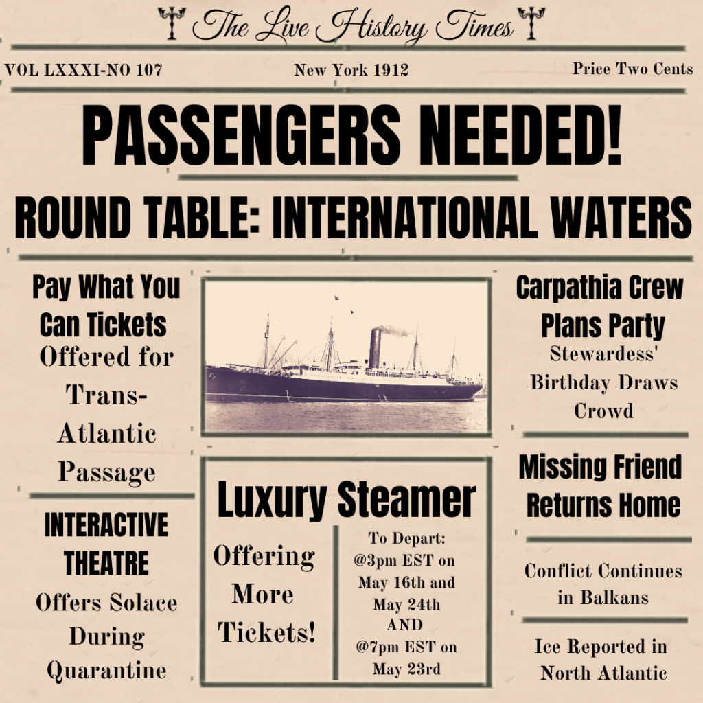 Passengers for the RMS Carpathia wanted